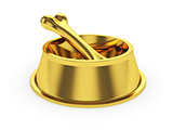 Golden pets bowl with gold bone