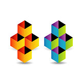 Logo with colorful cubes and shadow