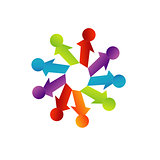 Abstract people together showing teamwork- business logo