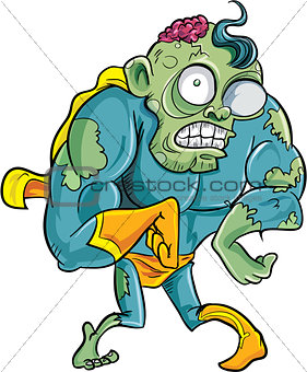 Cartoon superhero zombie