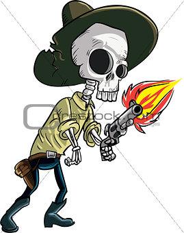 Cartoon skeleton cowboy with gun