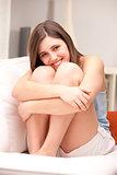 beautiful girl thinking about love
