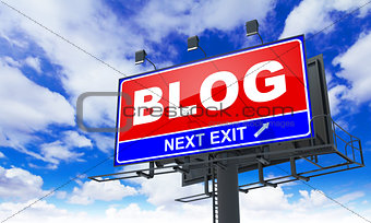 Blog Inscription on Red Billboard.