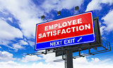 Employee Satisfaction Inscription on Red Billboard.