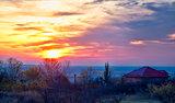Sunrise over Stanca village in Romania