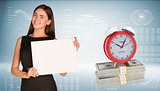 Businesswoman hold paper sheet. Alarm clock stand on dollar packs