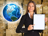 Businesswoman hold paper holder. Earth and wall of cardboard boxes