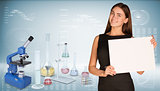 Businesswoman hold paper sheet. Microscope and flasks chemistry lab