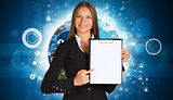 Beautiful businesswoman in suit holding paper holder