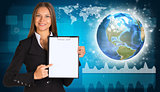 Beautiful businesswoman in suit holding paper holder. Network with people icons, Earth and graphs