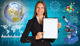 Beautiful businesswoman holding paper holder. Earth, microscope and molecule model
