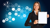 Beautiful businesswoman holding paper holder. Hexagons with icons