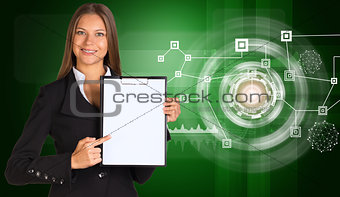Beautiful businesswoman in suit holding paper holder. Network with circles
