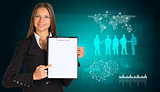Beautiful businesswoman in suit holding paper holder. World map and business silhouettes