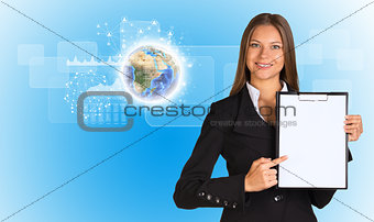 Beautiful businesswoman holding paper holder. Earth, network and graphs