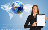 Beautiful businesswoman holding paper holder. Earth with world map