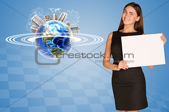 Beautiful businesswoman holding paper holder. Earth with buildings and orbit