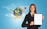 Beautiful businesswoman holding paper holder. Earth with buildings and figures