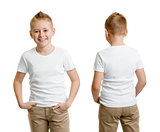 handsome kid boy model in white t-shirt or tshirt back and front