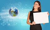Beautiful businesswoman holding paper holder. Earth with figures and graphs