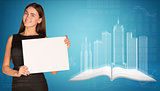 Businesswoman holding empty paper. Wire-frame buildings, open book and graphs