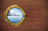 ship window with sea or ocean with tropical island. Travel and a