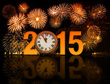 2015 year celebration icon with fireworks