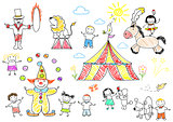 Happy children in circus