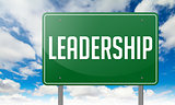 Leadership on Green Highway Signpost.