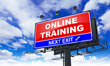 Online Training Inscription on Red Billboard.