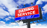 Dating Service Inscription on Red Billboard.