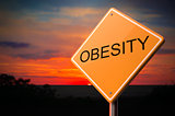 Obesity Inscription on Warning Road Sign.