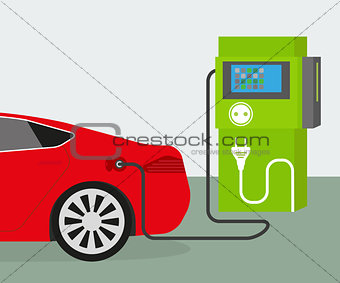 charging red electric car