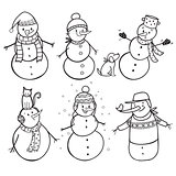 Set of  6 hand drawn snowman