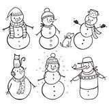 Set of  6 hand drawn snowman