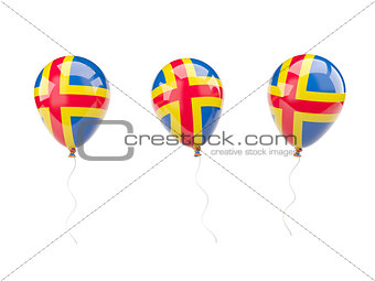 Air balloons with flag of aland islands