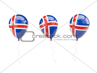 Air balloons with flag of iceland