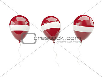 Air balloons with flag of latvia