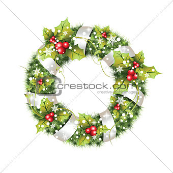 green christmas wreath with decorations.