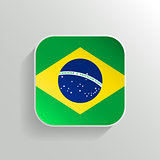 Vector Button - Brazil Flag Icon on White Background
