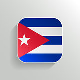 Vector Button - Cuba Flag Icon on White Background