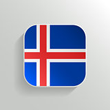 Vector Button - Iceland Flag Icon on White Background
