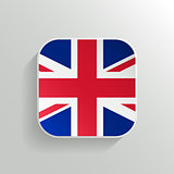 Vector Button -  United Kingdom Flag Icon on White Background