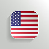 Vector Button - United States of America Flag Icon on White Background