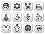 Christmas, winter buttons set - Santa Claus, snowman