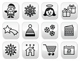 Christmas, Xmas celebrate buttons set