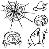 set of sketches for the design in the style of Halloween