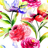 Seamless pattern with Tulip and Peony flowers