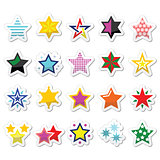 Colorful star icons isolated on white
