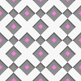 White geometrical ornament with white net and pink squares on gr